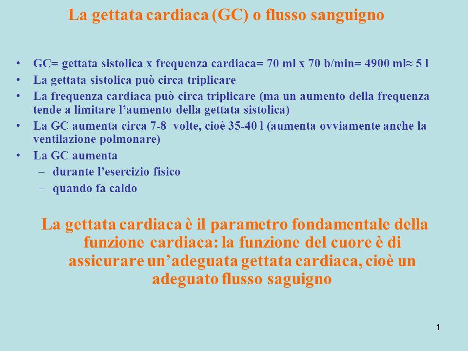 1 La gettata cardiaca (GC) o flusso sanguigno GC= gettata sistolica x frequenza cardiaca= 70 ml x 70 b/min= 4900 ml 5 l La gettata sistolica può circa