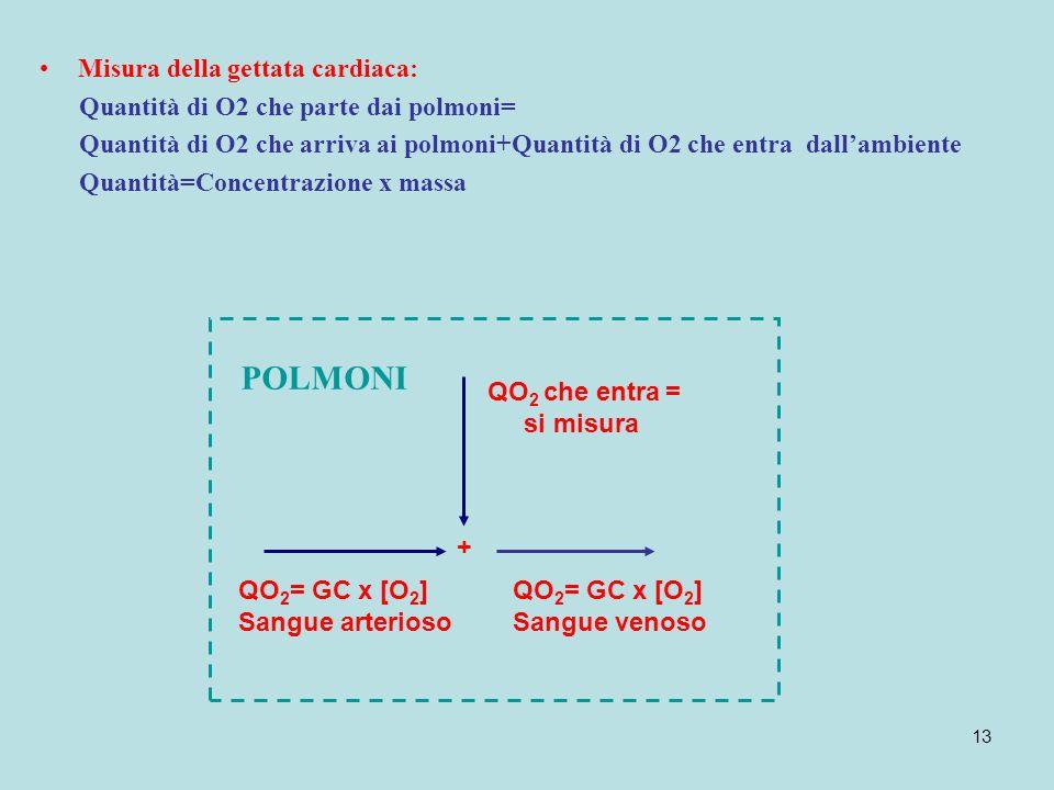 13 Misura della gettata cardiaca: Quantità di O2 che parte dai polmoni= Quantità di O2 che arriva ai polmoni+Quantità di O2 che entra dallambiente Qua