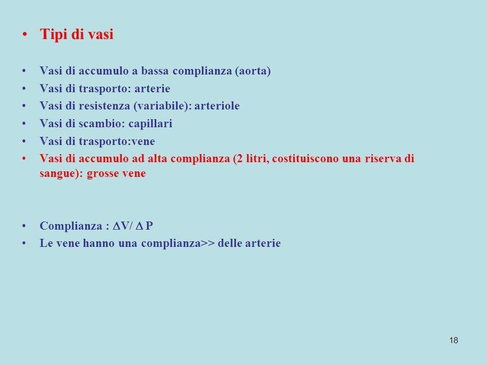 18 Tipi di vasi Vasi di accumulo a bassa complianza (aorta) Vasi di trasporto: arterie Vasi di resistenza (variabile): arteriole Vasi di scambio: capi