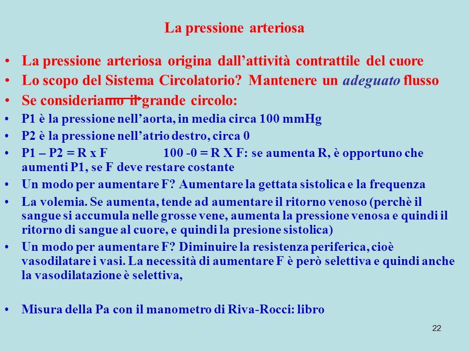 22 La pressione arteriosa La pressione arteriosa origina dallattività contrattile del cuore Lo scopo del Sistema Circolatorio? Mantenere un adeguato f
