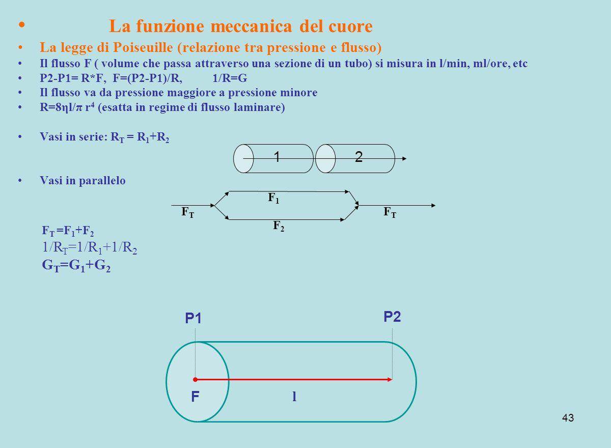 43 La funzione meccanica del cuore La legge di Poiseuille (relazione tra pressione e flusso) Il flusso F ( volume che passa attraverso una sezione di