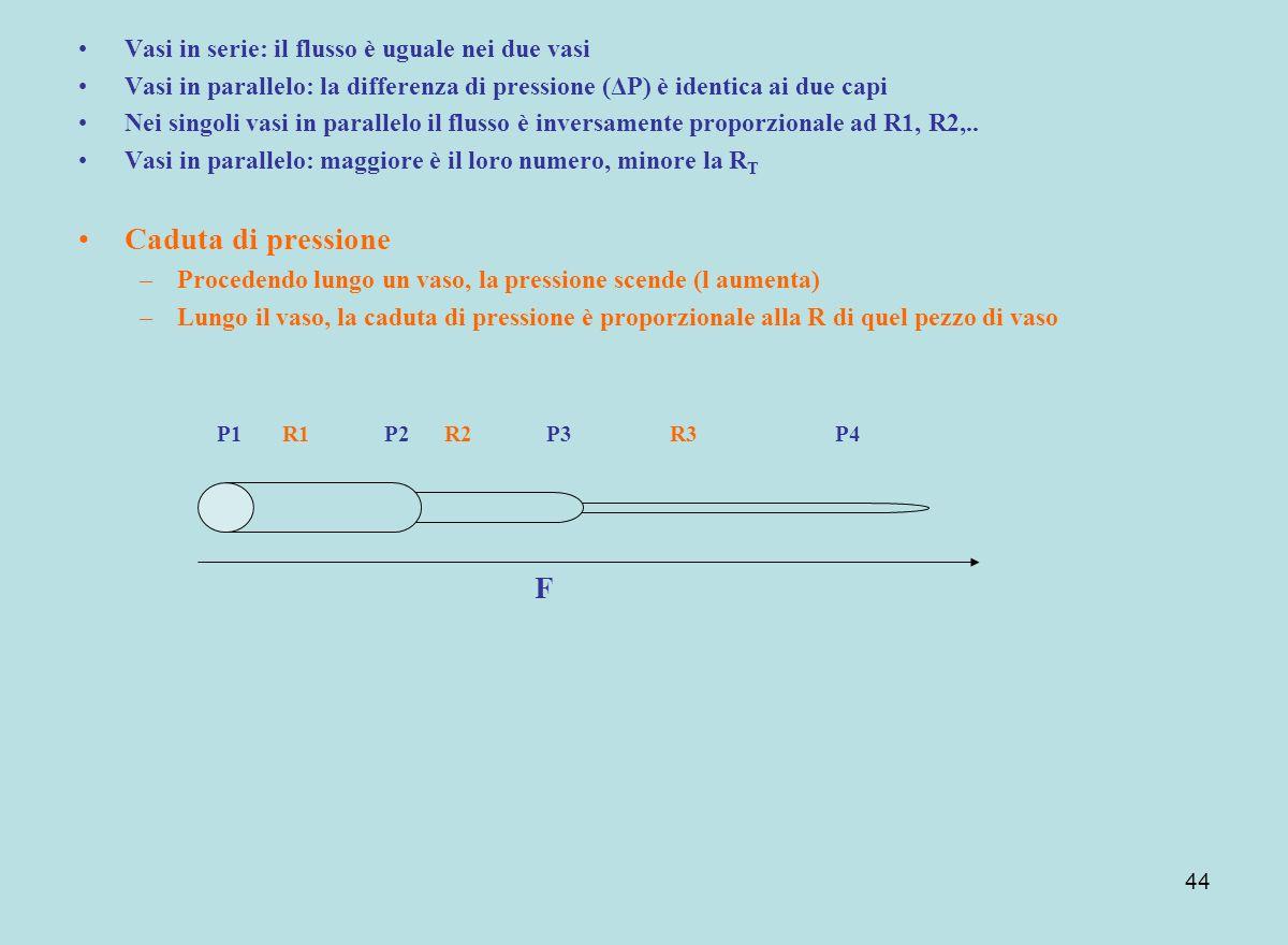 44 Vasi in serie: il flusso è uguale nei due vasi Vasi in parallelo: la differenza di pressione (ΔP) è identica ai due capi Nei singoli vasi in parall