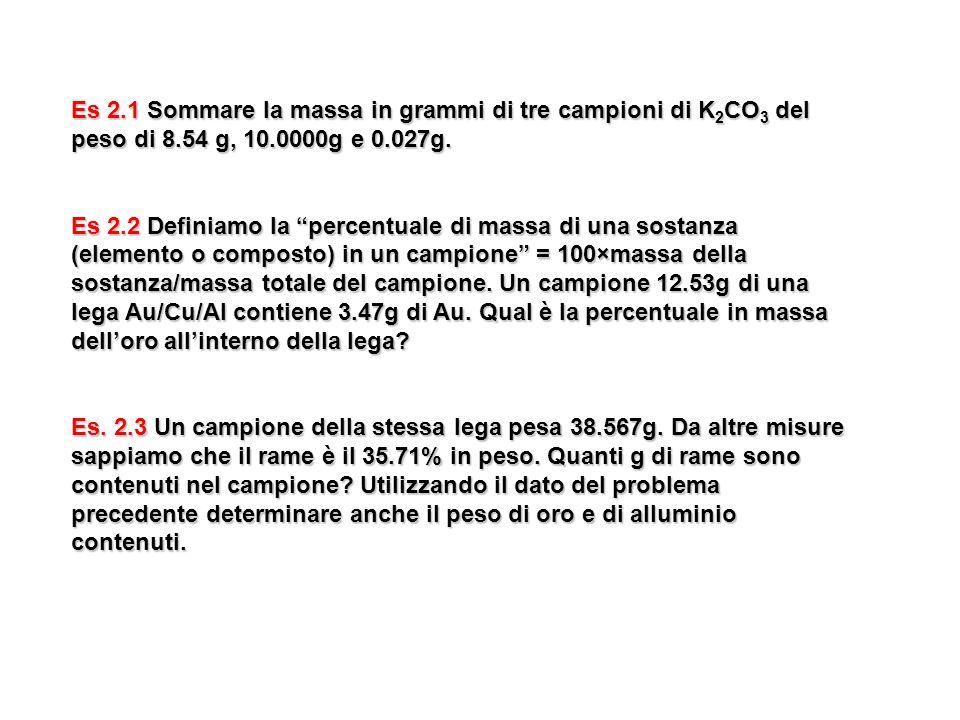Es 2.1 Sommare la massa in grammi di tre campioni di K 2 CO 3 del peso di 8.54 g, 10.0000g e 0.027g. Es 2.2 Definiamo la percentuale di massa di una s