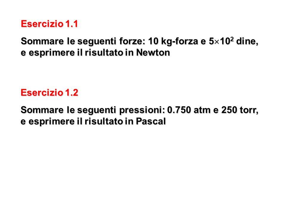 Esercizio 1.1 Sommare le seguenti forze: 10 kg-forza e 5 10 2 dine, e esprimere il risultato in Newton Esercizio 1.2 Sommare le seguenti pressioni: 0.