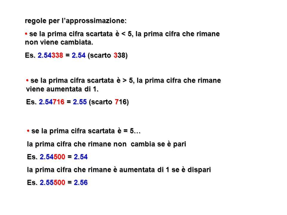 regole per lapprossimazione: se la prima cifra scartata è < 5, la prima cifra che rimane non viene cambiata. se la prima cifra scartata è < 5, la prim