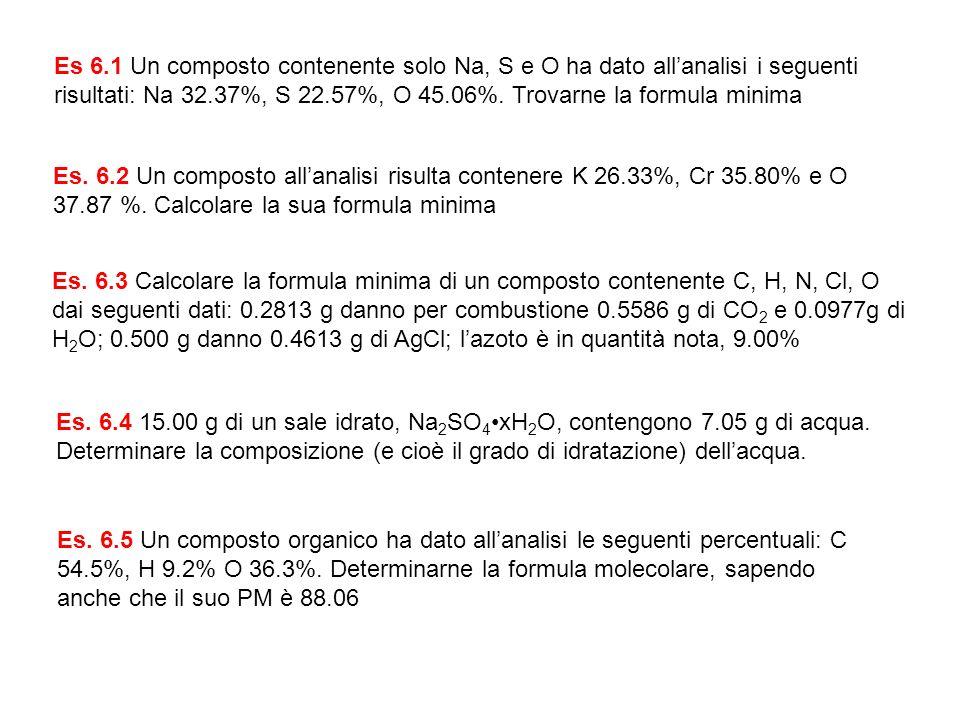 Es 6.1 Un composto contenente solo Na, S e O ha dato allanalisi i seguenti risultati: Na 32.37%, S 22.57%, O 45.06%. Trovarne la formula minima Es. 6.
