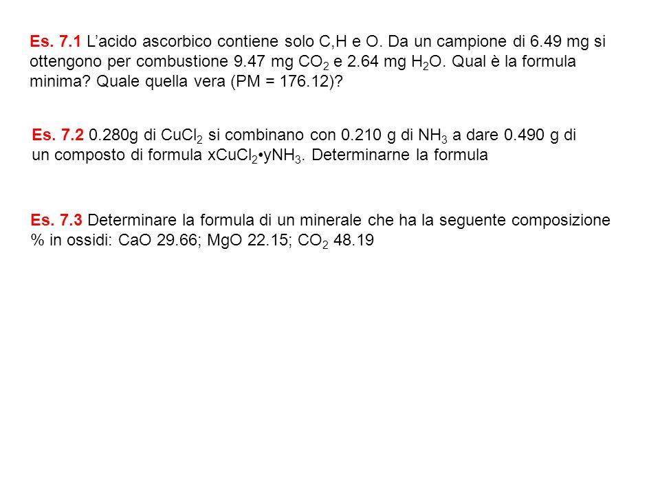 Es. 7.1 Lacido ascorbico contiene solo C,H e O. Da un campione di 6.49 mg si ottengono per combustione 9.47 mg CO 2 e 2.64 mg H 2 O. Qual è la formula