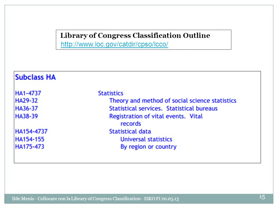 Library of Congress Classification Outline http://www.loc.gov/catdir/cpso/lcco/ 15 Ilde Menis - Collocare con la Library of Congress Classification - ISKO Fi 20.05.13
