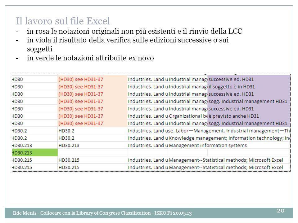 Il lavoro sul file Excel -in rosa le notazioni originali non più esistenti e il rinvio della LCC -in viola il risultato della verifica sulle edizioni