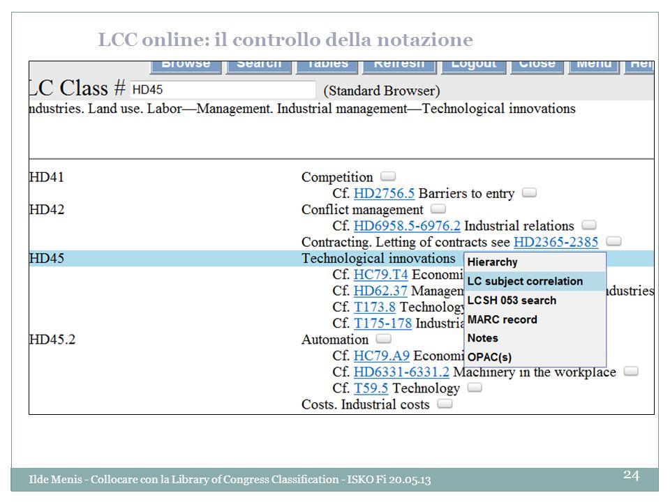 LCC online: il controllo della notazione 24 Ilde Menis - Collocare con la Library of Congress Classification - ISKO Fi 20.05.13