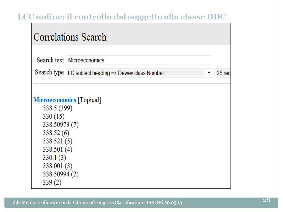 LCC online: il controllo dal soggetto alla classe DDC 28 Ilde Menis - Collocare con la Library of Congress Classification - ISKO Fi 20.05.13