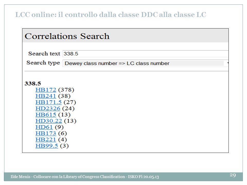 LCC online: il controllo dalla classe DDC alla classe LC 29 Ilde Menis - Collocare con la Library of Congress Classification - ISKO Fi 20.05.13