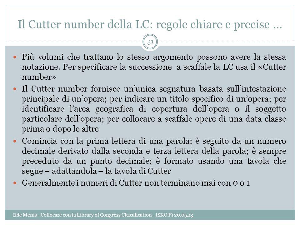 Il Cutter number della LC: regole chiare e precise … Più volumi che trattano lo stesso argomento possono avere la stessa notazione. Per specificare la