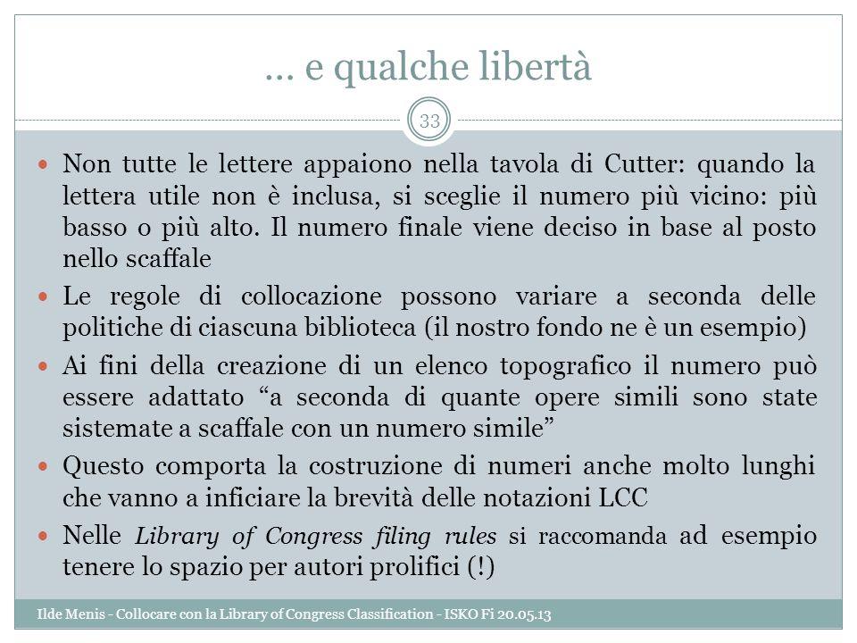 … e qualche libertà Non tutte le lettere appaiono nella tavola di Cutter: quando la lettera utile non è inclusa, si sceglie il numero più vicino: più