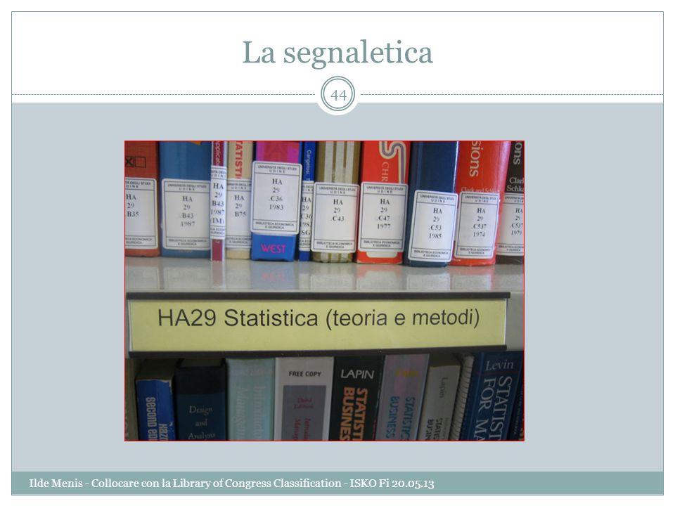 La segnaletica 44 Ilde Menis - Collocare con la Library of Congress Classification - ISKO Fi 20.05.13