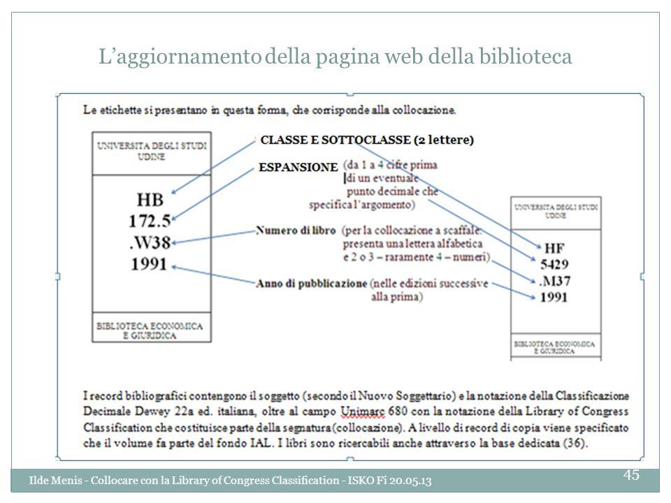 Laggiornamento della pagina web della biblioteca 45 Ilde Menis - Collocare con la Library of Congress Classification - ISKO Fi 20.05.13