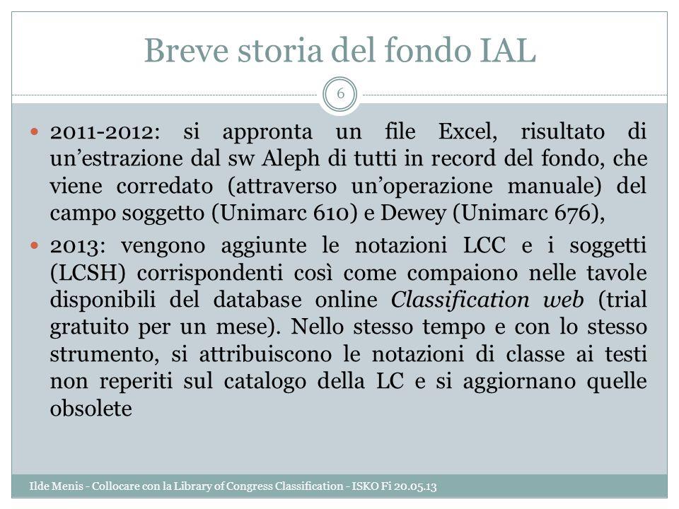 Breve storia del fondo IAL 2011-2012: si appronta un file Excel, risultato di unestrazione dal sw Aleph di tutti in record del fondo, che viene corred