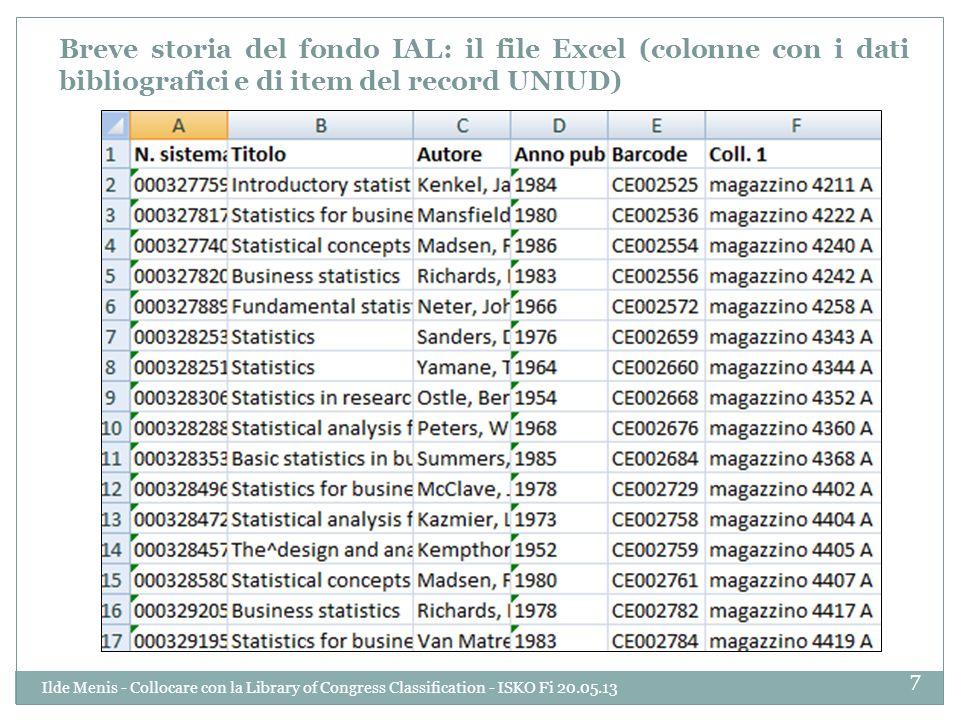Breve storia del fondo IAL: il file Excel (colonne con i dati bibliografici e di item del record UNIUD) 7 Ilde Menis - Collocare con la Library of Con