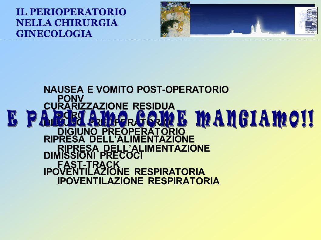 PONV PORC DIGIUNO PREOPERATORIO RIPRESA DELLALIMENTAZIONE FAST-TRACK IPOVENTILAZIONE RESPIRATORIA IL PERIOPERATORIO NELLA CHIRURGIA GINECOLOGIA NAUSEA