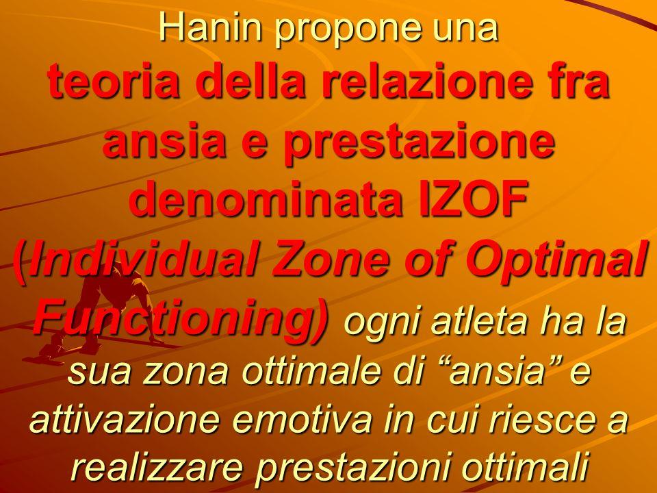 Hanin propone una teoria della relazione fra ansia e prestazione denominata IZOF (Individual Zone of Optimal Functioning) ogni atleta ha la sua zona o