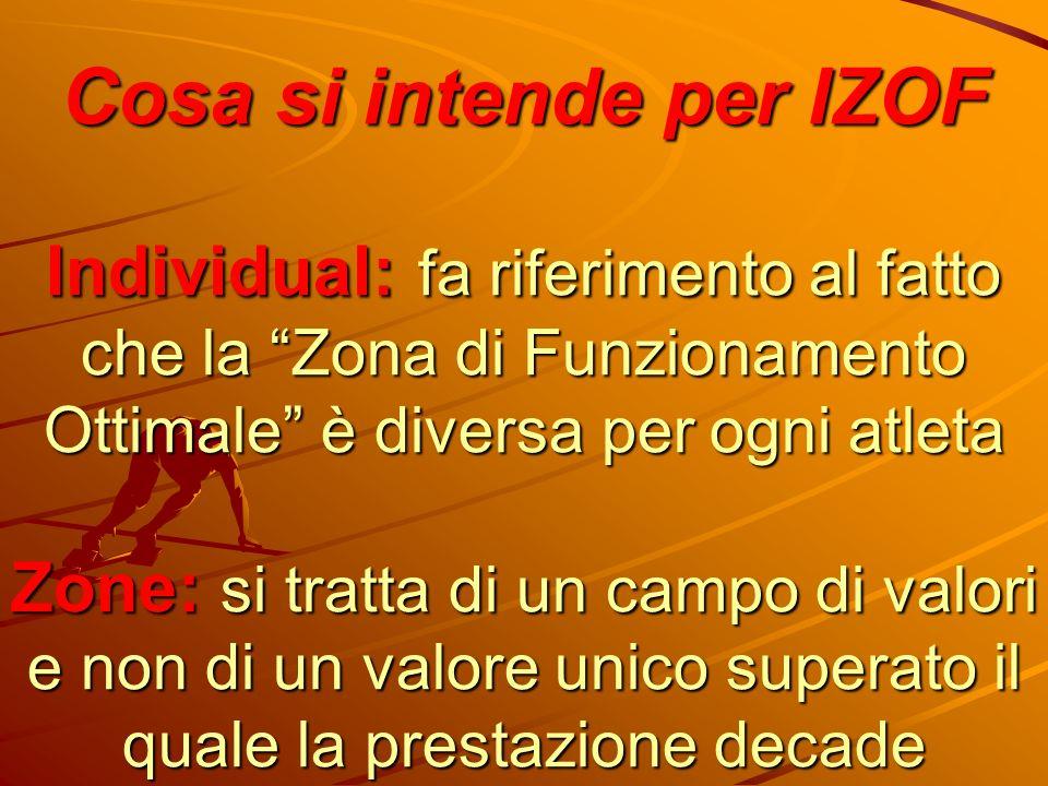 Cosa si intende per IZOF Individual: fa riferimento al fatto che la Zona di Funzionamento Ottimale è diversa per ogni atleta Zone: si tratta di un campo di valori e non di un valore unico superato il quale la prestazione decade