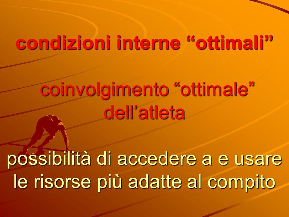 condizioni interne ottimali coinvolgimento ottimale dellatleta possibilità di accedere a e usare le risorse più adatte al compito