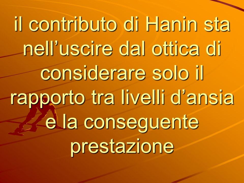 il contributo di Hanin sta nelluscire dal ottica di considerare solo il rapporto tra livelli dansia e la conseguente prestazione