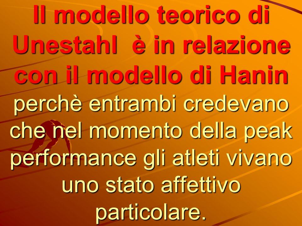 Il modello teorico di Unestahl è in relazione con il modello di Hanin perchè entrambi credevano che nel momento della peak performance gli atleti vivano uno stato affettivo particolare.