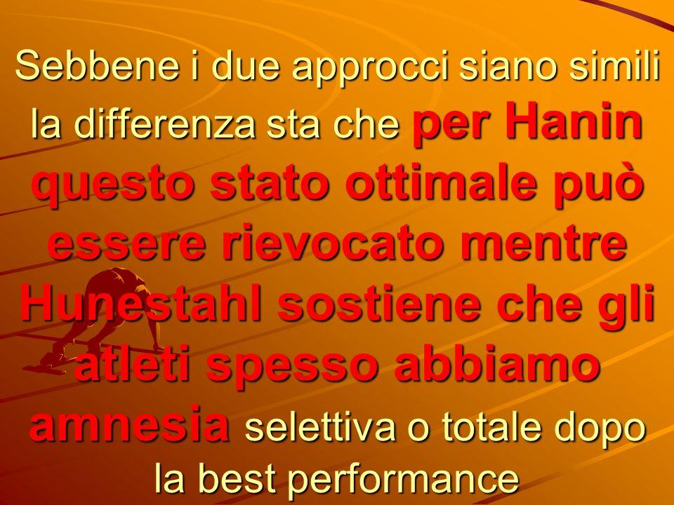 Sebbene i due approcci siano simili la differenza sta che per Hanin questo stato ottimale può essere rievocato mentre Hunestahl sostiene che gli atlet