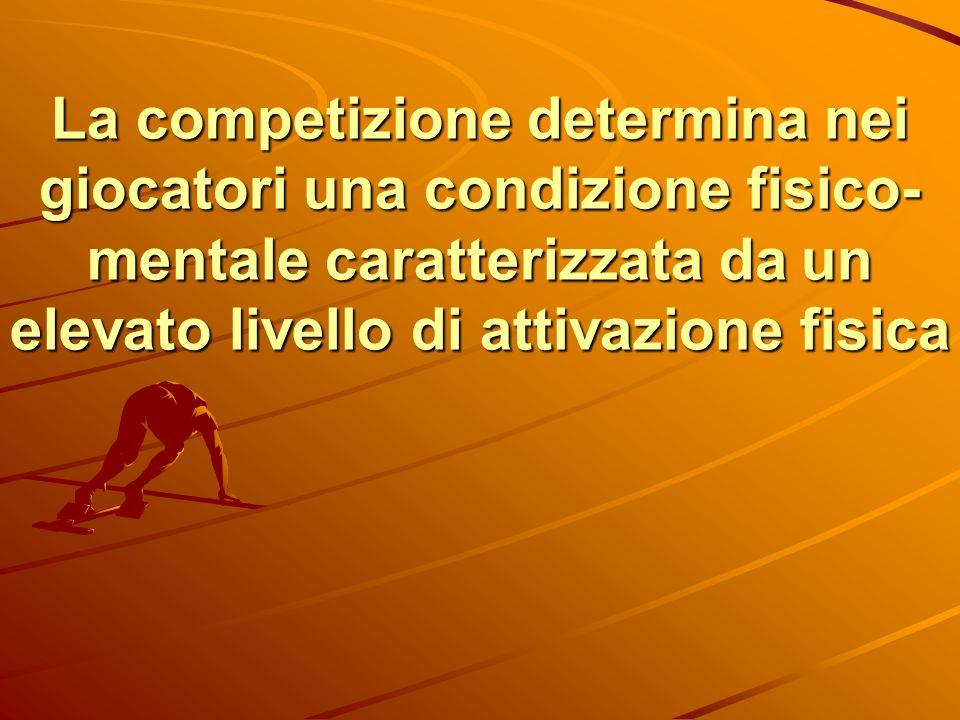 La competizione determina nei giocatori una condizione fisico- mentale caratterizzata da un elevato livello di attivazione fisica
