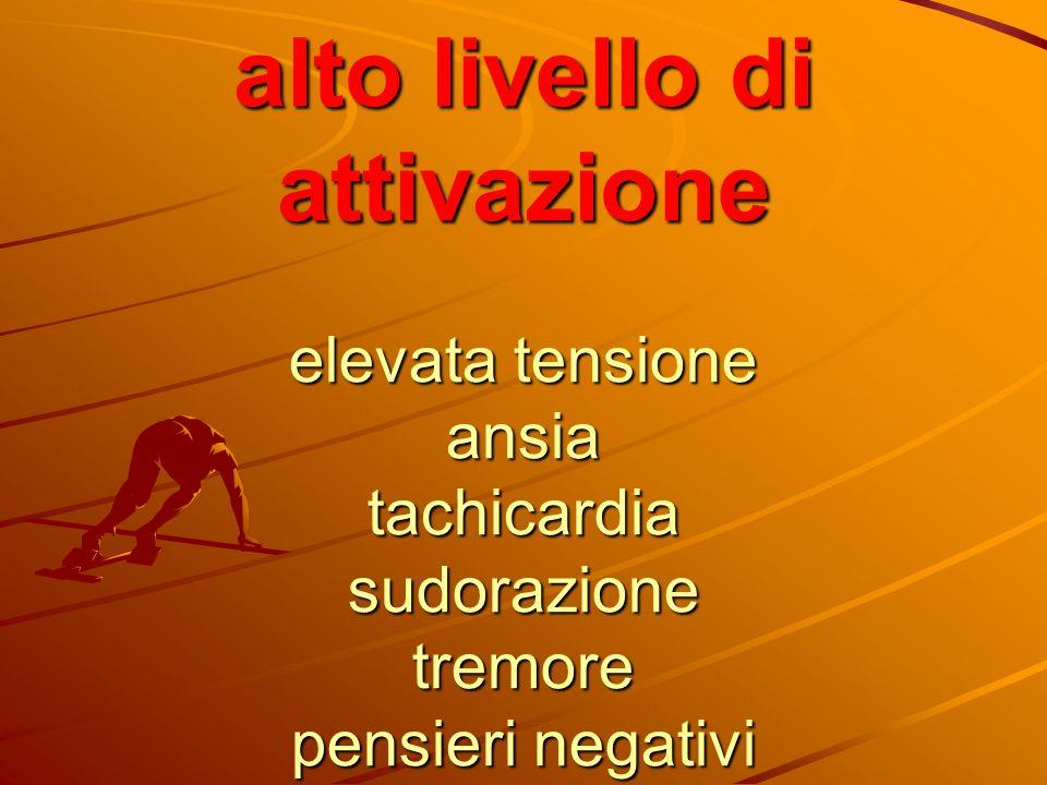 alto livello di attivazione elevata tensione ansia tachicardia sudorazione tremore pensieri negativi