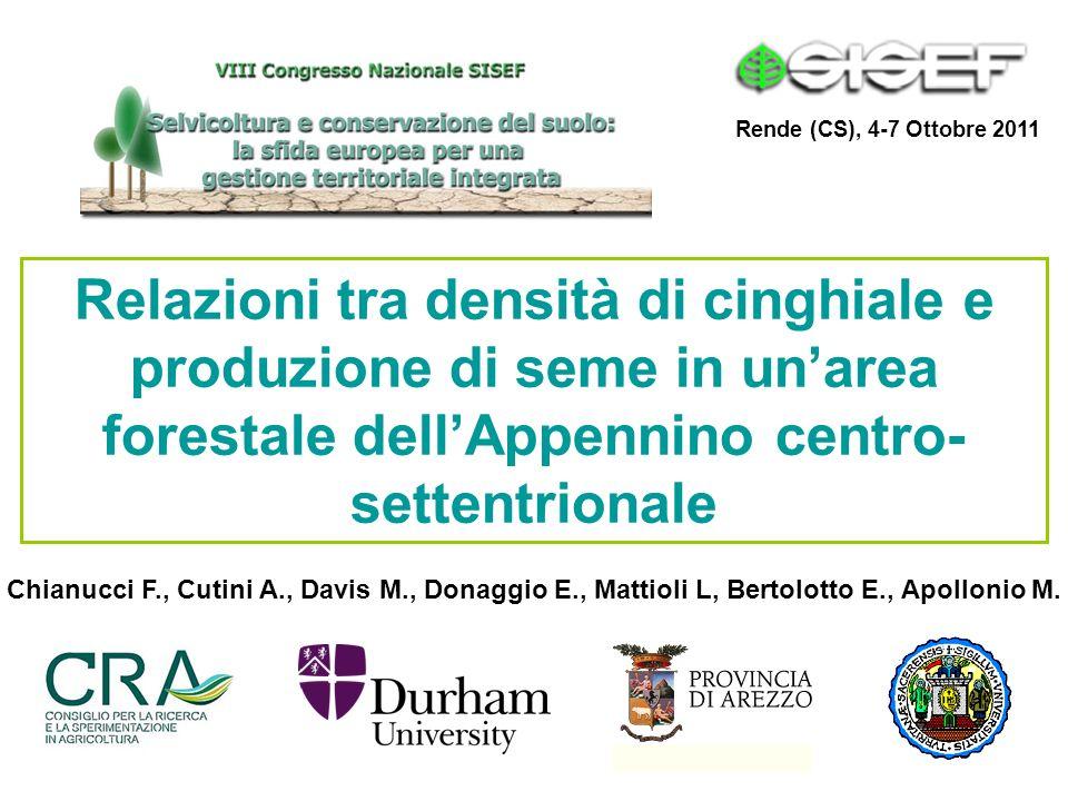 Relazioni tra densità di cinghiale e produzione di seme in unarea forestale dellAppennino centro- settentrionale Chianucci F., Cutini A., Davis M., Do