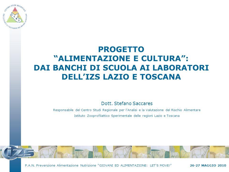 P.A.N. Prevenzione Alimentazione Nutrizione GIOVANI ED ALIMENTAZIONE: LET'S MOVE! 26-27 MAGGIO 2010 PROGETTO ALIMENTAZIONE E CULTURA: DAI BANCHI DI SC