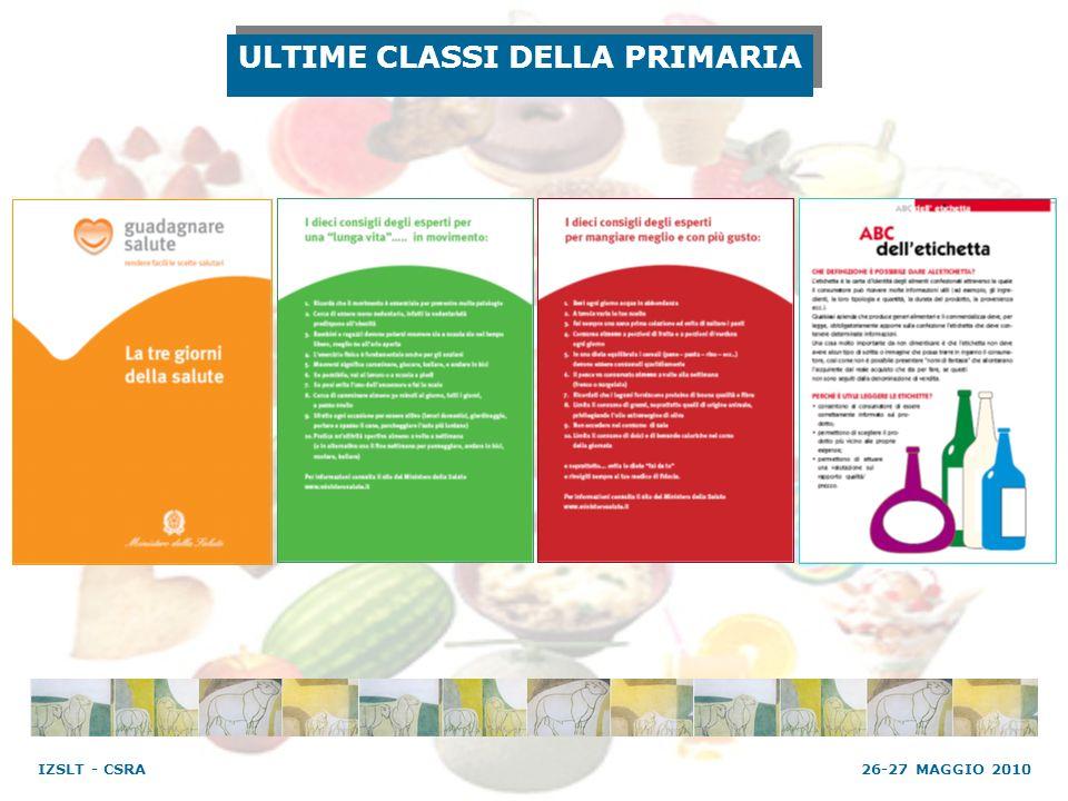 ULTIME CLASSI DELLA PRIMARIA 26-27 MAGGIO 2010 IZSLT - CSRA
