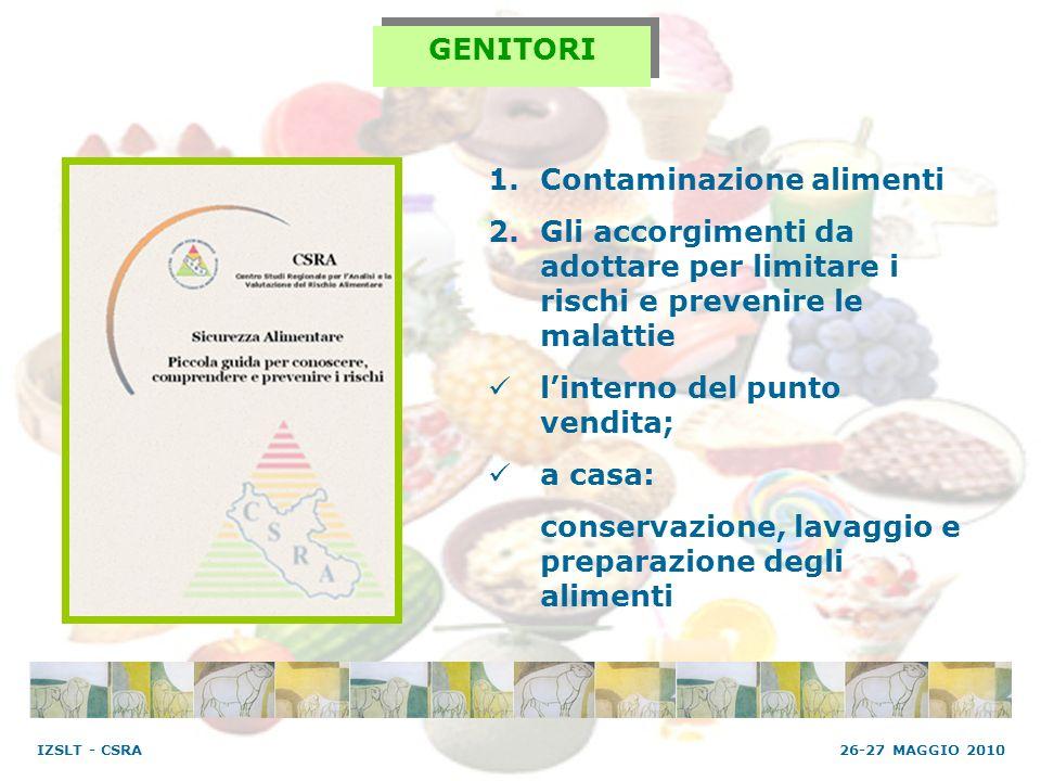 GENITORI 1.Contaminazione alimenti 2.Gli accorgimenti da adottare per limitare i rischi e prevenire le malattie linterno del punto vendita; a casa: co