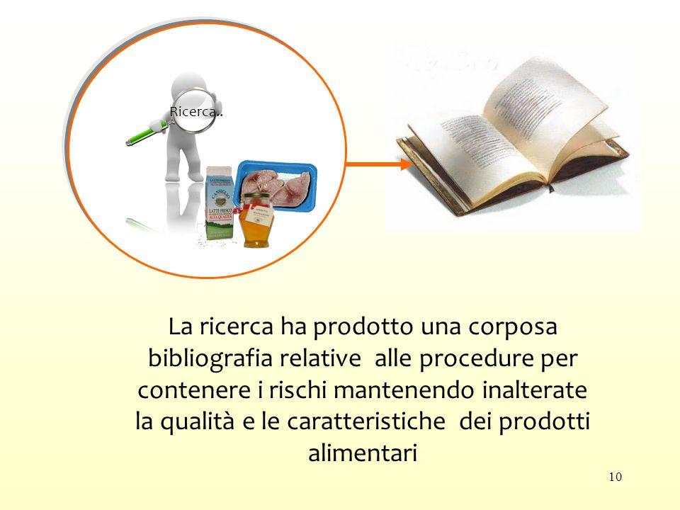 La ricerca ha prodotto una corposa bibliografia relative alle procedure per contenere i rischi mantenendo inalterate la qualità e le caratteristiche dei prodotti alimentari Ricerca..