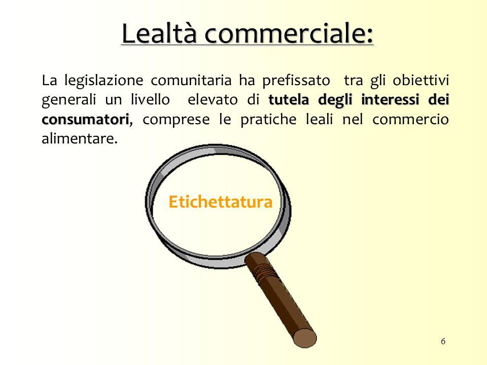 Lealtà commerciale: tutela degli interessi dei consumatori La legislazione comunitaria ha prefissato tra gli obiettivi generali un livello elevato di tutela degli interessi dei consumatori, comprese le pratiche leali nel commercio alimentare.