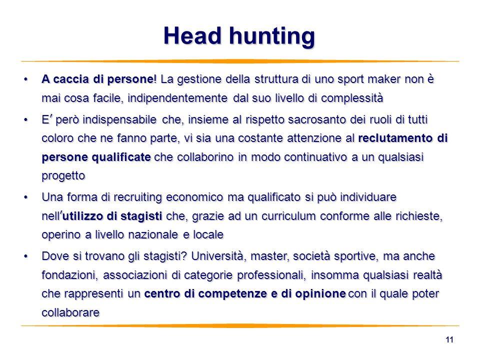 11 A caccia di persone! La gestione della struttura di uno sport maker non è mai cosa facile, indipendentemente dal suo livello di complessit àA cacci