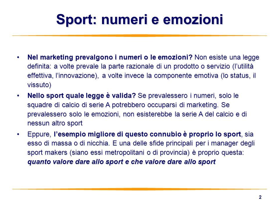 2 Sport: numeri e emozioni Nel marketing prevalgono i numeri o le emozioni? Non esiste una legge definita: a volte prevale la parte razionale di un pr
