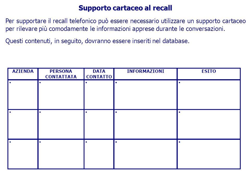Supporto cartaceo al recall Per supportare il recall telefonico può essere necessario utilizzare un supporto cartaceo per rilevare più comodamente le