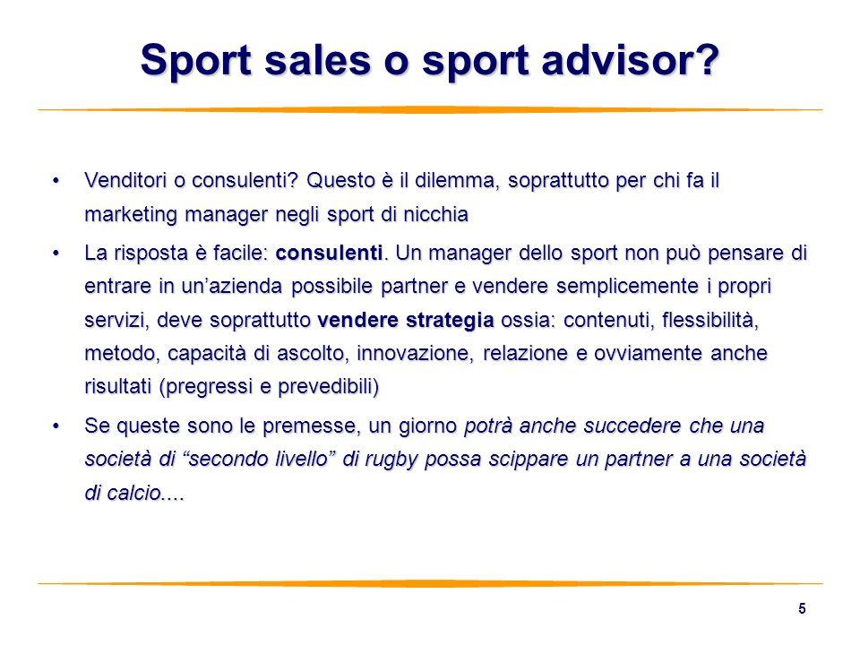 5 Sport sales o sport advisor? Venditori o consulenti? Questo è il dilemma, soprattutto per chi fa il marketing manager negli sport di nicchiaVenditor