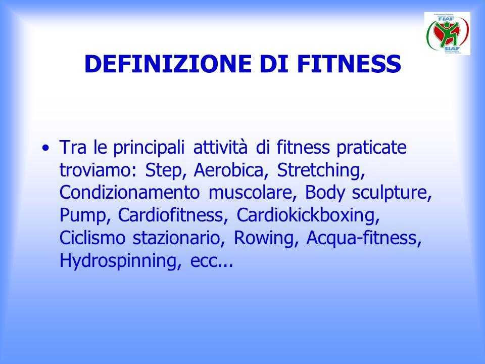 DEFINIZIONE DI FITNESS Tra le principali attività di fitness praticate troviamo: Step, Aerobica, Stretching, Condizionamento muscolare, Body sculpture