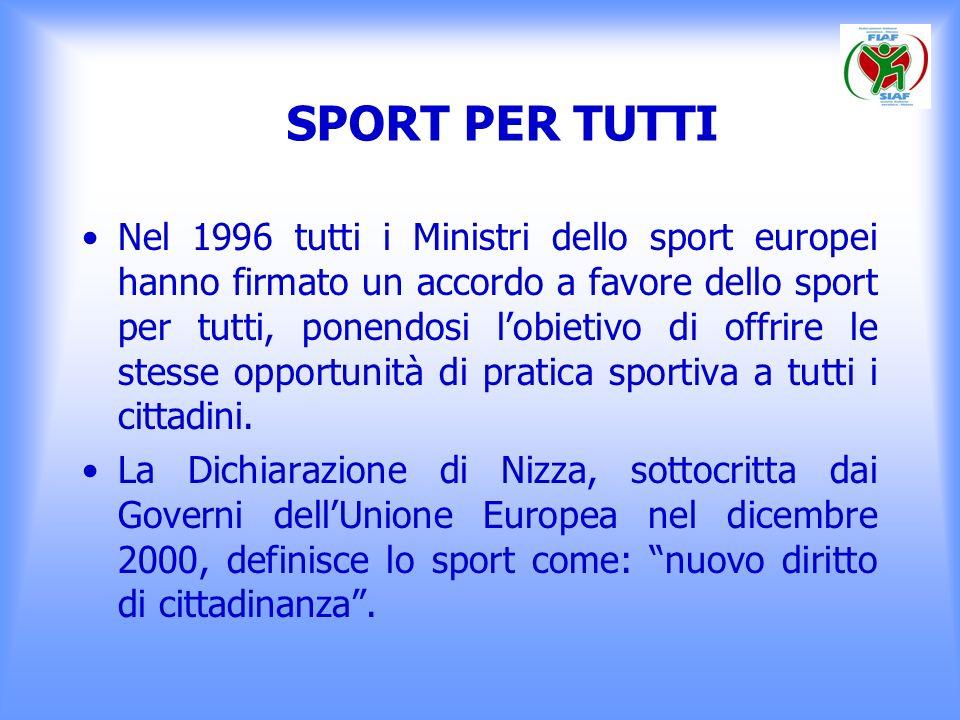 SPORT PER TUTTI Nel 1996 tutti i Ministri dello sport europei hanno firmato un accordo a favore dello sport per tutti, ponendosi lobietivo di offrire