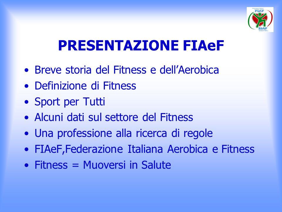 PRESENTAZIONE FIAeF Breve storia del Fitness e dellAerobica Definizione di Fitness Sport per Tutti Alcuni dati sul settore del Fitness Una professione