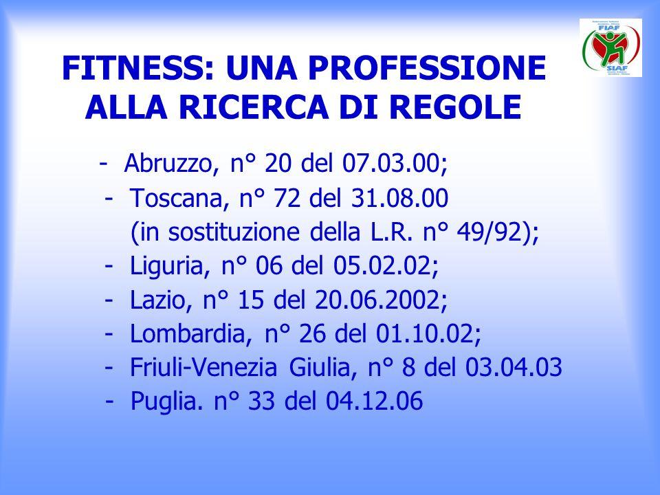 FITNESS: UNA PROFESSIONE ALLA RICERCA DI REGOLE - Abruzzo, n° 20 del 07.03.00; - Toscana, n° 72 del 31.08.00 (in sostituzione della L.R. n° 49/92); -