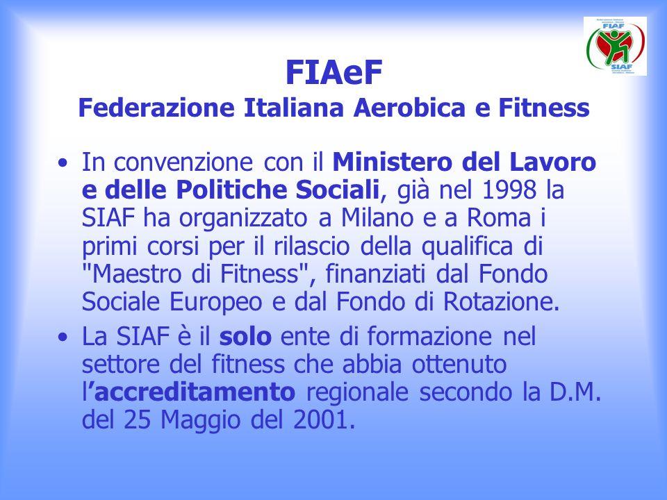 FIAeF Federazione Italiana Aerobica e Fitness In convenzione con il Ministero del Lavoro e delle Politiche Sociali, già nel 1998 la SIAF ha organizzat
