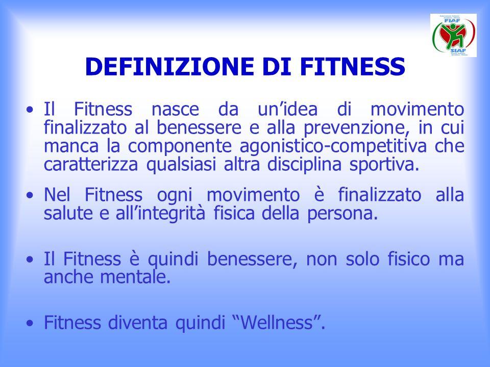 DEFINIZIONE DI FITNESS Le cinque componenti fondamentali del Fitness sono: 1.Capacità aerobica: la capacità del corpo di assorbire, trasportare ed utilizzare lossigeno inspirato; 2.Forza muscolare: la capacità del muscolo di esercitare uno sforzo massimale una volta; 3.Resistenza muscolare: la capacità del muscolo di contrarsi ripetutamente o di mantenere una contrazione isometrica tollerando bene la fatica;
