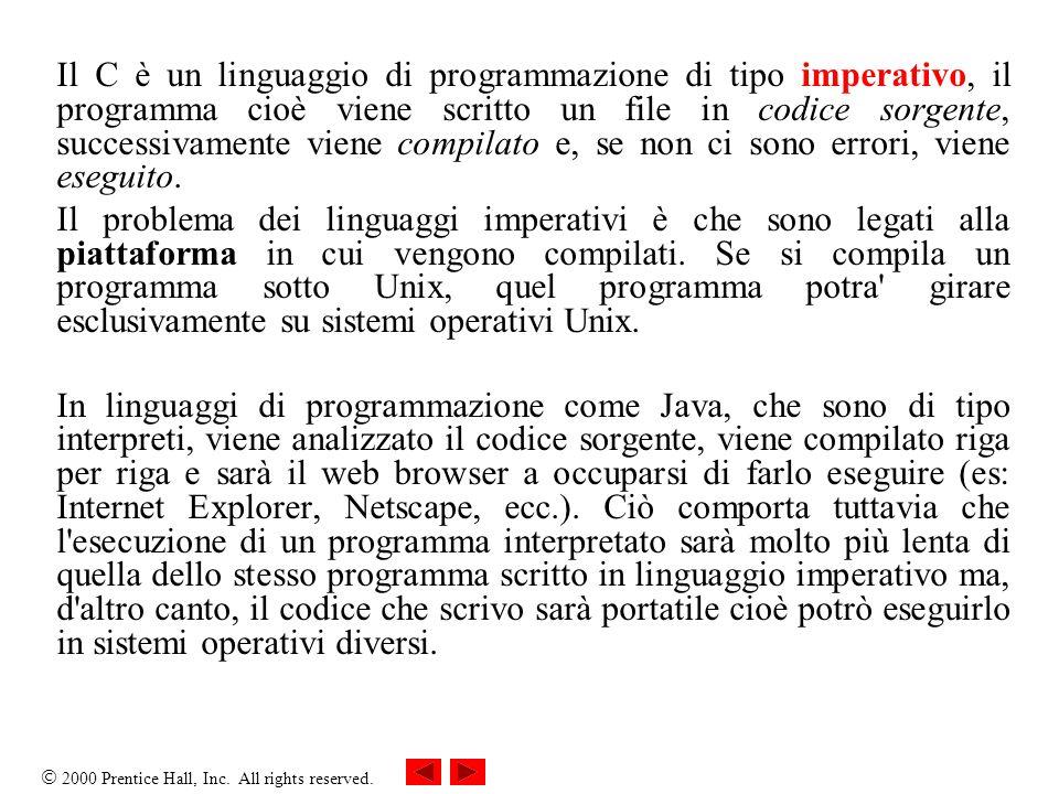 2000 Prentice Hall, Inc. All rights reserved. Il C è un linguaggio di programmazione di tipo imperativo, il programma cioè viene scritto un file in co