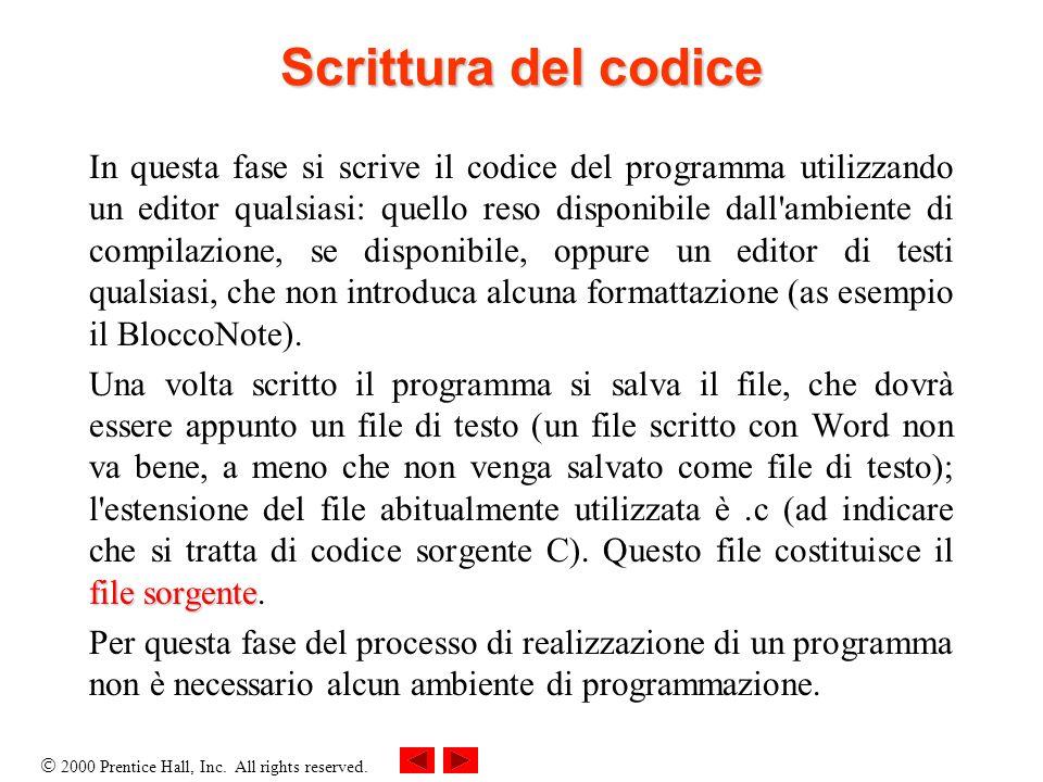 2000 Prentice Hall, Inc. All rights reserved. Scrittura del codice In questa fase si scrive il codice del programma utilizzando un editor qualsiasi: q