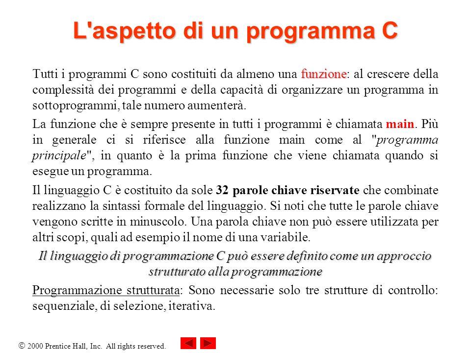 2000 Prentice Hall, Inc. All rights reserved. L'aspetto di un programma C funzione Tutti i programmi C sono costituiti da almeno una funzione: al cres